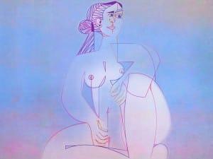 Mujer Sentada, geometrización de Pablo Picasso (1953), abstracción de Roberto Real de León (2013)